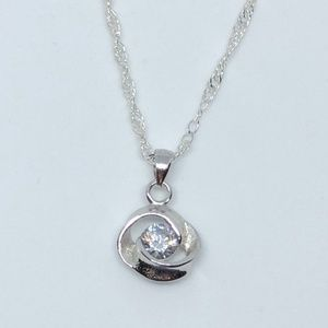 Jewelry - Solitaire Crystal Pendant Stamped 925 SS Necklace
